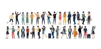 uppsättning av unga män och kvinnor i olika yrken