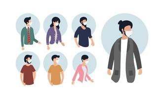människor i vita medicinska ansiktsmasker set vektor