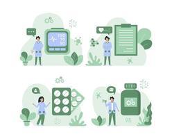 hälsa och medicinsk försäkring konceptuppsättning vektor