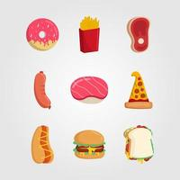 uppsättning av snabbmat ikoner platt stil