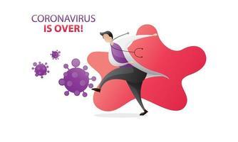 coronavirus är över sparkar virus vektor