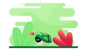 Bleiben Sie zu Hause Konzept mit Schildkröte Illustration vektor