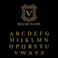 egyptiska alfabetet guld ram bokstäver vektor