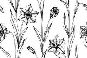 Hand gezeichnete Narzissen nahtloses Muster vektor