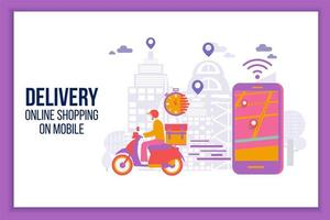 schnelle Lieferung per Roller auf dem Handy