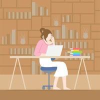 kvinna som arbetar vid skrivbordet hemma
