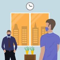 sozial distanzierte Menschen, die im Büro Masken tragen