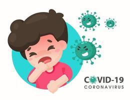 tecknad pojke infekterad av coronavirus