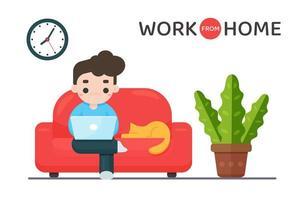 Mann auf dem Sofa arbeitet von zu Hause aus vektor