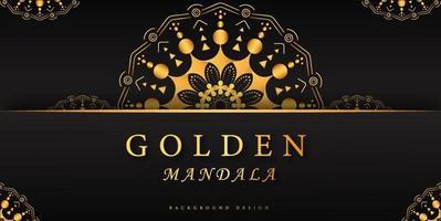 elegantes goldenes Mandalaplakat mit Kopienraum vektor
