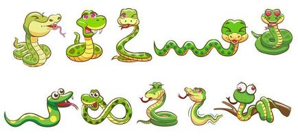 Schlangen-Cartoon-Set vektor