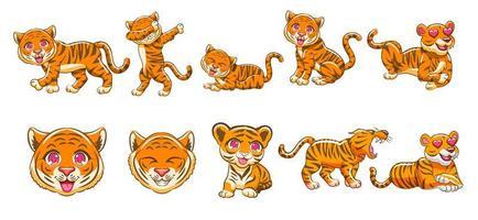 kawaii tiger cartoon set vektor