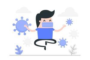 maskierter Mann der Karikatur, der gegen Virus meditiert