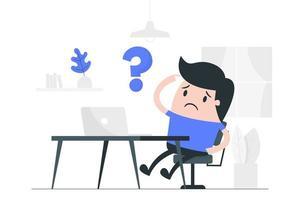 tecknad man förvirrad när han arbetar