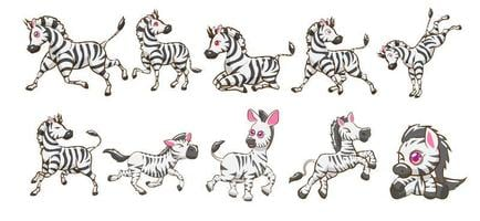 kawaii Stil Zebra Cartoon Set vektor