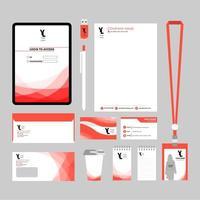 Werbeartikel-Set mit rot geschwungenen Motiven vektor