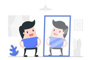 Karikaturmann, der im Spiegel schaut vektor