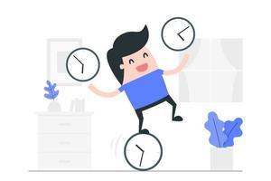 Karikaturmann, der auf Uhr balanciert