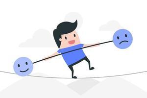 Karikaturmann auf Seil, der Emotionen ausbalanciert vektor