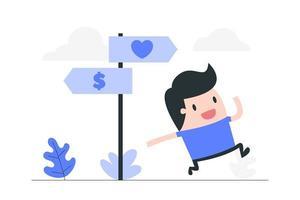 tecknad man som väljer mellan kärlek eller pengar