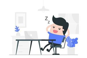 Karikaturmann, der am Schreibtisch schläft