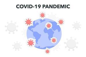 Coronavirus-Elemente über der Erde vektor