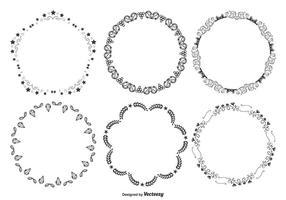 Nette dekorative runde Rahmen Set vektor