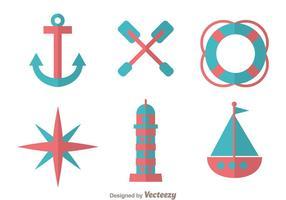 Nautiska platta design ikoner