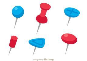 Rote und blaue Push-Pin-Vektoren