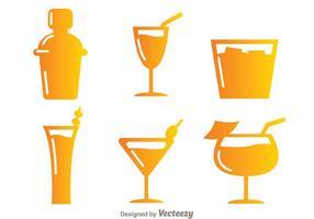 Farbverlauf Cocktail Icons vektor