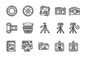 Umriss Fotografie Elemente Symbole vektor