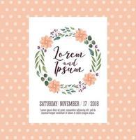 bröllop kort med blommor krans vektor
