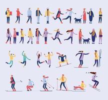 Zeichensatz von Menschen im Winter vektor