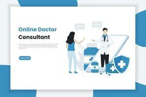 online-läkarkonsultens målsidamall vektor