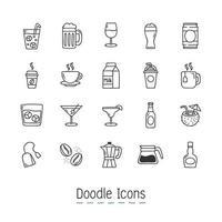 doodle drycker ikoner set vektor