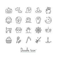 doodle halloween ikonuppsättning vektor