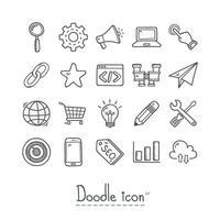seo hand dras doodle ikonuppsättning vektor