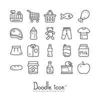 Supermarkt Doodle Icon Set vektor