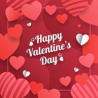 rött alla hjärtans dagskort med pappersklippta hjärtan vektor