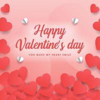 papperssnitt hjärtat valentin dagskort vektor