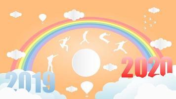 Silhouetten springen von 2019 bis 2020 unter Regenbogen vektor