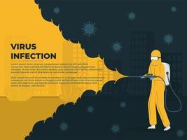 Mann im Schutzanzug Desinfektion Coronavirus vektor