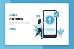Sprachassistent Bildschirm Landingpage Vorlage