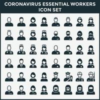 Coronavirus Essential Workers Icon Set