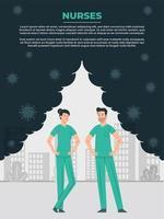 männliche und weibliche Krankenschwester helfen der Welt vektor