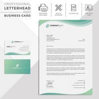 grüner gewellter moderner Briefkopf und Visitenkarte