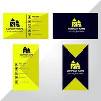 Visitenkartensatz des gelben und blauen Winkeldesigns