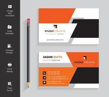 Visitenkarte des orange, weißen und schwarzen Winkelentwurfs vektor