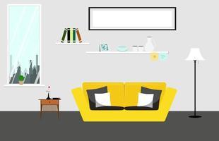 flaches Wohnzimmer mit gelber Couch