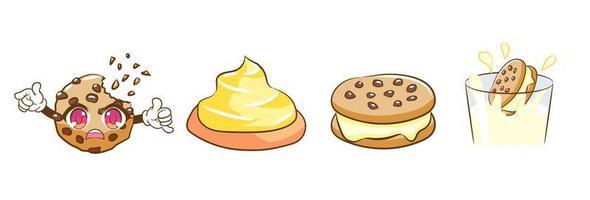 Cookie-Charakter und Dessert-Elemente vektor